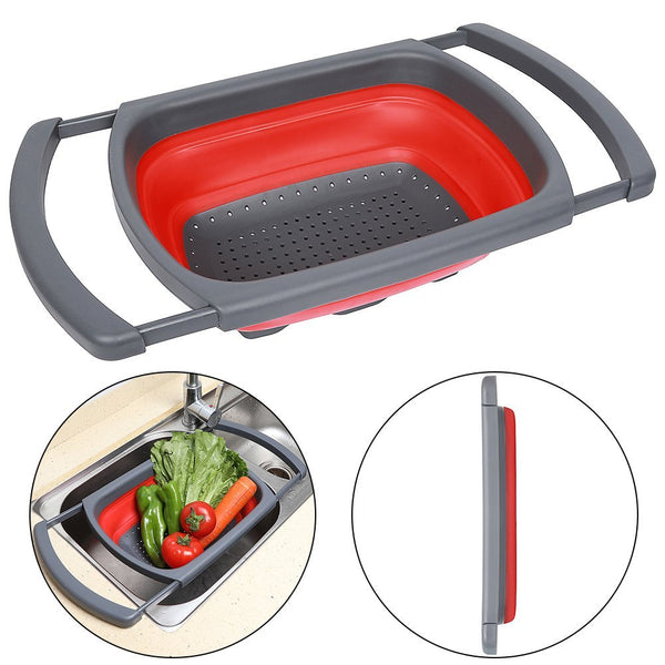 AShomie™ Collapsible Over the Sink Colander, Red and Green