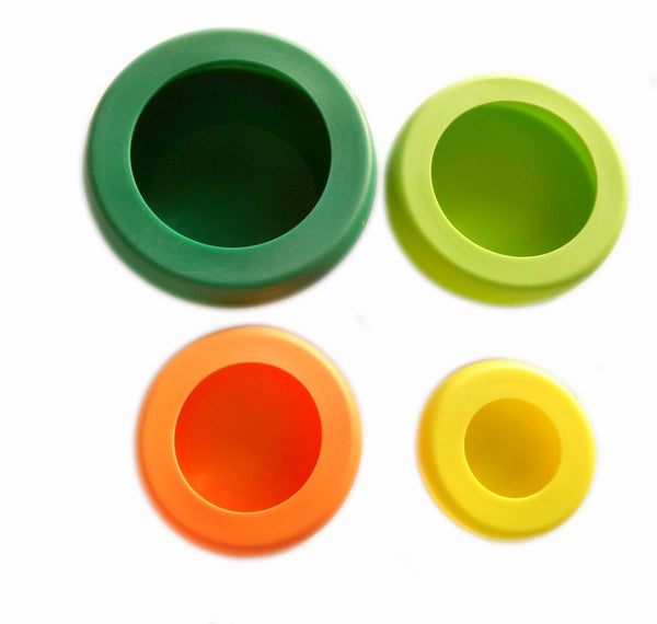 AShomie Reusable Silicone Food Savers, Set of 4, Fresh Colors!