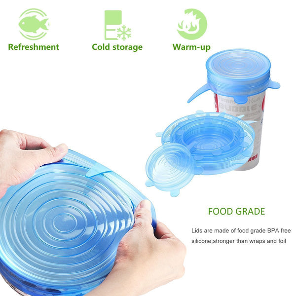 Edenware Silicone Food Savers, Stretchable! 6 Pieces.