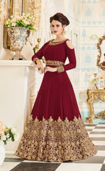 Maroon Georgette Cold Shoulder Anarkali Type Dress