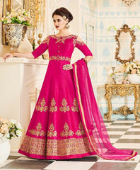 Pink Cold Shoulder Silk Anarkali Type Dress With Dupatta