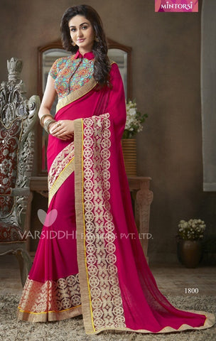 Red georgette with embroidery saree with work on blouse