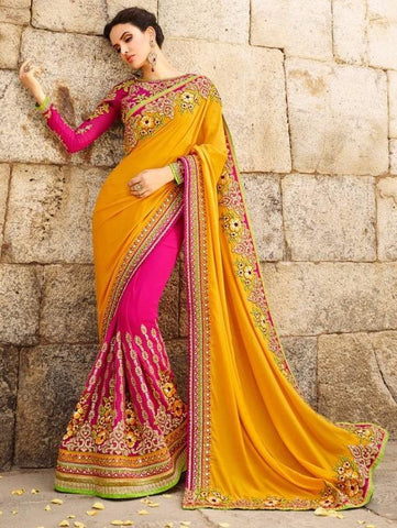Yellowish orange plus hotpink,Georgette,Heavy bridal wedding saree with heavy embroidery blouse