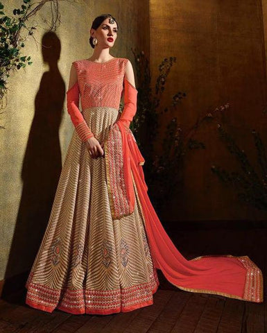 Cold  Shoulder Georgette Orange  Beige Anarkali With Dupatta