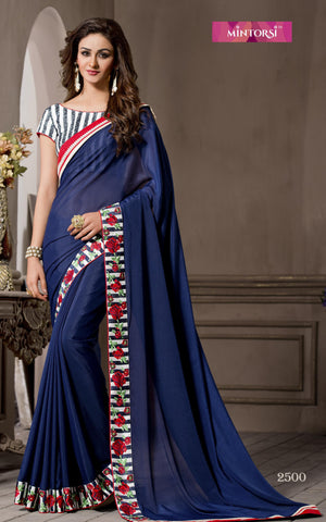 Blue,Georgette,Causal designer saree