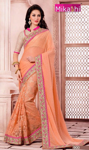 Orange,Net,Party wear designer saree