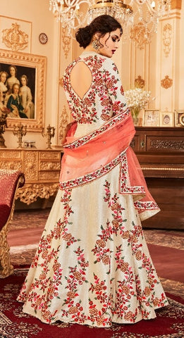 Beige Silk Backless Anarkali Type Dress With Dupatta