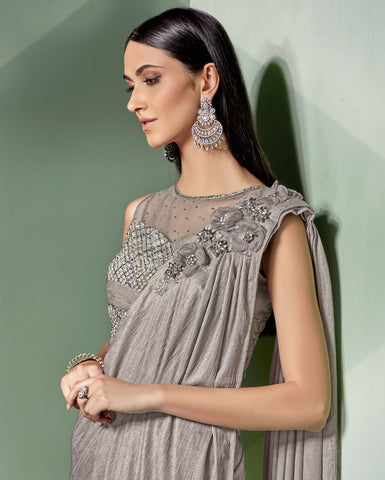 Grey Lycra Party Wear Saree With Grey Blouse