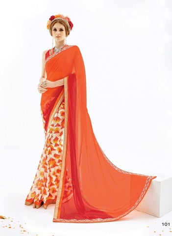 Saree Orange Red , Cream,Georgette & Georgette