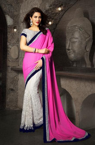 Saree Grey , Pink,Jacquard