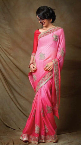 Pink,Silk,Designer saree with heavy work and designer blouse