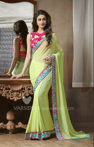 Green georgette saree with embroidery