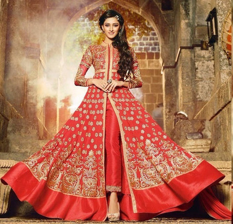 Red Party Anarkali Suit With Heavy Work and Designer Green Long Suit for Wedding,Reception and Parties Combo Offer