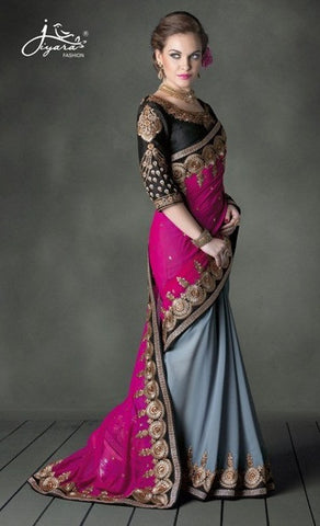Saree Pink , Grey,Faux Georgette