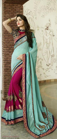 Blue , Magenta,Bemberg,Designer wedding saree with heavy embroidery work