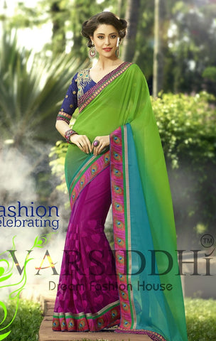 Multi Colored shaded saree with designer blouse with work