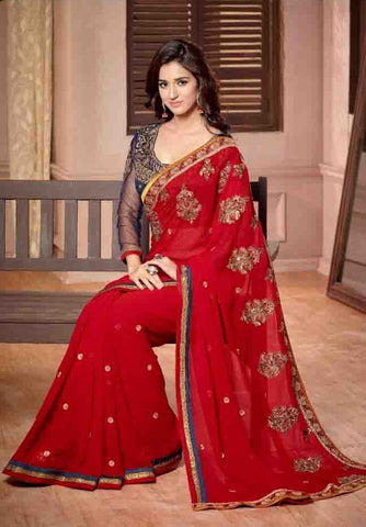 Saree Red , Blue,Georgette