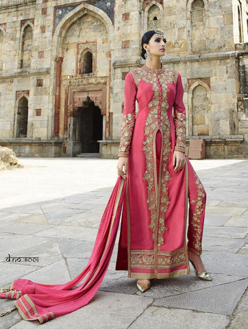 Red party wear anarkali suits with net sleeves and golden work and Designer Pink Indo Western Long Salwar Kameez for Weddings, Parties and Reception Combo Offer