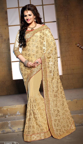 Designer heavy wedding purpose embroidery saree,Beige,Pure Bamber