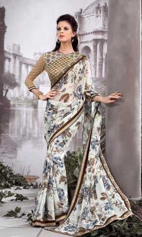 Saree White , Beige,Georgette