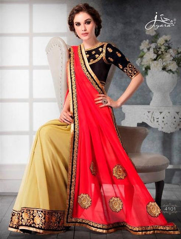 Red , Beige,Faux georgette,Designer party wear saree