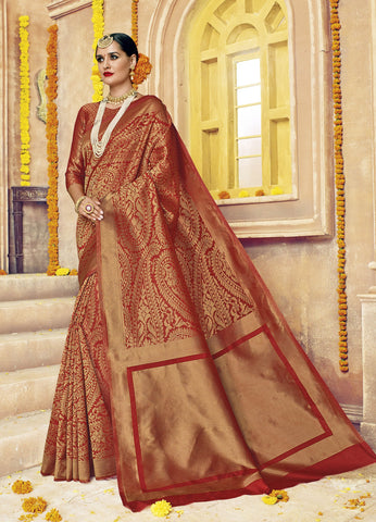 Red  ,Silk,Banarsi silk saree