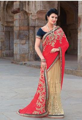 Red , Beige,Geogette,Heavy designer party wear saree