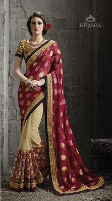 Maroon , Beige,Net,Heavy wedding wear designer saree