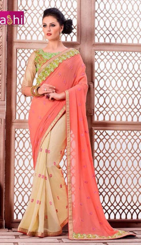 Peach , Beige,Viscose,Party wear designer saree