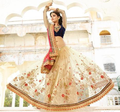 Pink , Cream,Net,Heavy party wear bridal designer saree
