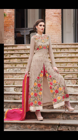 Beige , Pink,Georgette,Straight long designer salwar suits