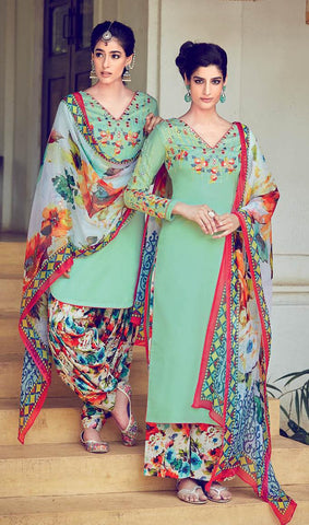 Green,Cotton,Patiyala suits designer suits