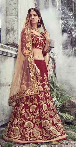 Beige , Maroon,Net  ,Designer wedding lehenga saree