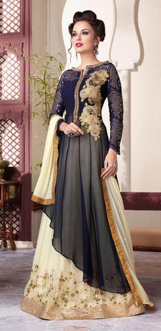 Blue , Beige,Georgette,Heavy designer anarkali floor length suit