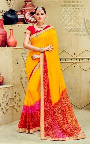 Yellow , Red,Chiffon,Party wear designer saree with designer blouse