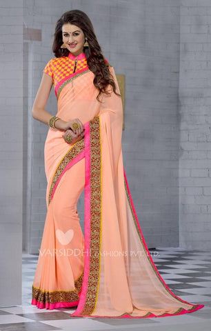 Peach,Georgette,Designer party wear saree