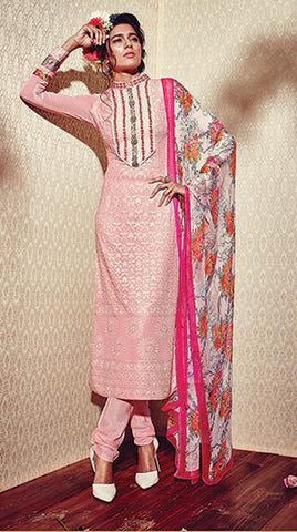 Pink,Georgette,Straight designer suits online