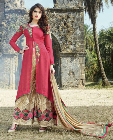 Pink , Beige,Georgette,party wear palazo designer suits