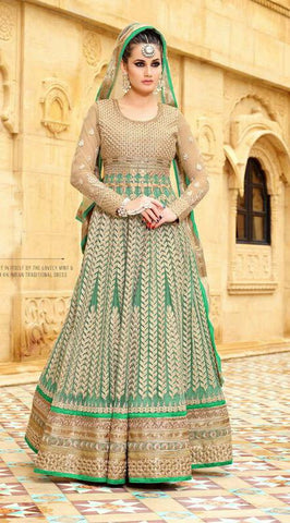 Sea Green,Net,Heavy designer party wear suits
