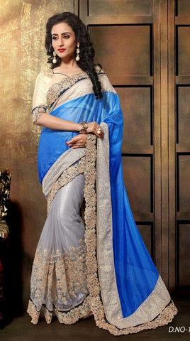 Blue , Cream,Net,Heavy designer party wear saree