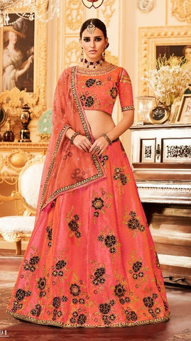 Peach Silk Embrodiered Lehenga With Choli And Dupatta
