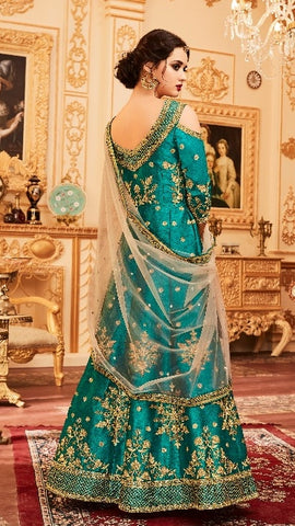 Cyan  Silk Cold Shoulder  Anarkali Type Dress With Dupatta