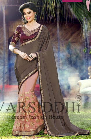 Saree Brown , pink,Soft net,inner santoon,blouse : Chiffon georgette