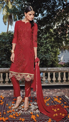 Red,Georgette,designer straight suits with embroidery work