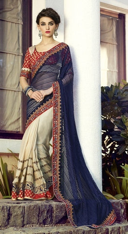 Saree Blue , Beige,Jaquard