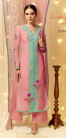 Pink,Cotton Satin,Straight designer party wear suits