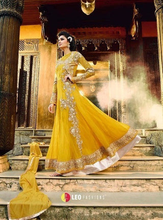 Yellow backless designer partywear anarkali suit with work