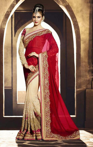 Georgette,Beige & red,Designer wedding saree with heavy embroidery work