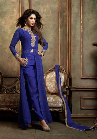 Suits Blue,Georgette , Net