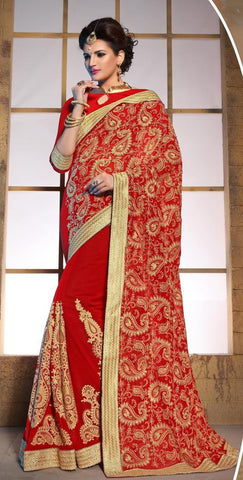 Designer heavy wedding purpose embroidery saree,Red,60 Gram